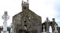 Old Irish Celtic Church Ruins in Ireland with Grass Field Close Up Stock Footage