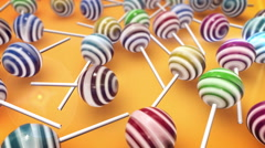 Lollipops. Candy on stick with twisted design. Stock Footage