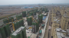 Aerial view of the construction of a new neighborhood in China Stock Footage