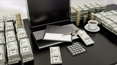 The workplace of business people. Laptop and money grow. business concept Stock Footage
