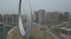 Aerial drone view of an ambitious project turned 'ghost city' in China Stock Footage