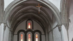Old Irish Celtic Church Inside with Stained Glass Windows Stock Footage