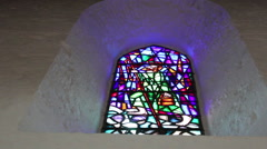 Saint Patrick Stained Glass Church Window Close Up Stock Footage
