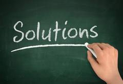 Solutions chalkboard write concept  3d illustration Stock Illustration