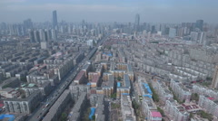 Aerial view of central Shenyang, China Stock Footage
