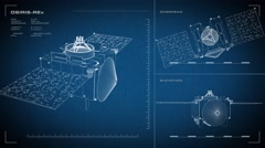 Looping, animated orthographic engineering blueprint of the OSIRIS-REx spacecraf Stock Footage