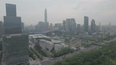 Aerial view of the colorful municipal government building and skyline Shenzhen Stock Footage