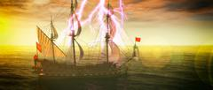 Abandoned historic sailing ship in the stormy sea with a lightning strike 3d Stock Illustration