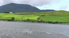 River Flowing in Ireland with Green Mountains in Country Side Wide Stock Footage