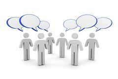 Discussion speech bubbles concept  3d illustration Stock Illustration