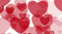 Abstract bright red hearts video animation Stock Footage