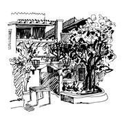 Black and white sketch drawing of Slovenska Plaza hotel street i Stock Illustration