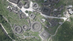 High angle aerial view of classic tulou village in Fujian, rural China Stock Footage