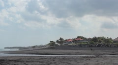 Panorama of the Beach With Volcanic Sand Stock Footage