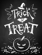 Chalked Trick or Treat poster Stock Illustration