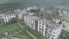High angle aerial view of remains school building, Wenchuan earthquake China Stock Footage