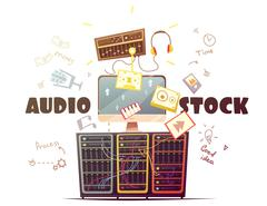 Microstock Audio Concept Retro Cartoon Illustration Stock Illustration