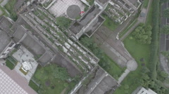 Overhead view of damaged school, earthquake memorial China Stock Footage