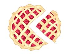 Cherry pie slice Stock Illustration