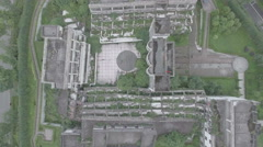 Overhead view of school remains at earthquake memorial site Wenchuan Stock Footage