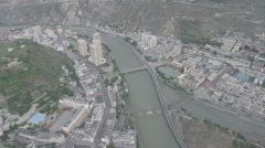 Aerial view partly rebuilt Weizhou in 2008 earthquake area Sichuan China Stock Footage