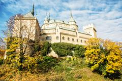 Beautiful Bojnice castle in Slovak republic, seasonal scene Stock Photos