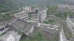 Aerial view of tragic consequences 2008 Wenchuan earthquake, China Stock Footage