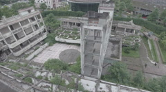 Aerial slider view of collapsed school, Wenchuan earthquake memorial Stock Footage