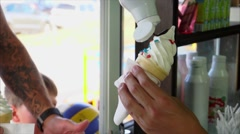Chef pouring ice-cream waffle cone chocolate syrup Stock Footage