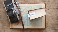 Travel - Hand lettering. Vintage composition Stock Footage