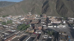 Aerial view of the Tibetan Labrang monastery in Xiahe, China Stock Footage