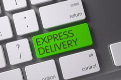 Green Express Delivery Keypad on Keyboard. 3D Illustration Stock Illustration