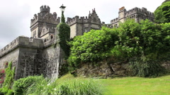 Kylemore Abbey in Ireland with Blue Skies Close Up Side View Stock Footage