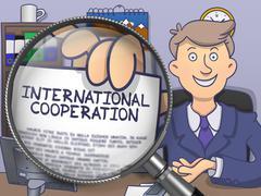 International Cooperation through Magnifier. Doodle Design Stock Illustration