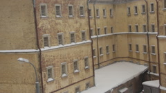 View of old prison building in winter Stock Footage
