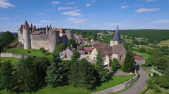 Aerial view of Chateauneuf in Burgundy Stock Footage