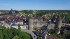 France, Aerial view of Semur en Auxois Stock Footage