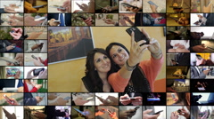 Mutiscreen with two charming women take a selfie Stock Footage