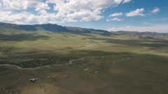 Flying over stunning high altitude Tibetan grasslands mountains in China Stock Footage