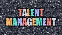 Talent Management in Multicolor. Doodle Design Stock Illustration