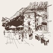 Original sepia sketch drawing of Kotor street - famous place in Stock Illustration