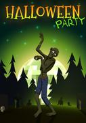 Halloween Zombie Party on green disco ball moon background. Vector illustration Stock Illustration