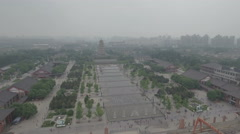 Aerial view fountains Big Wild Goose Pagoda in Xi'an Stock Footage