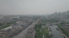 Aerial view of the ancient city walls of Xian in China Stock Footage