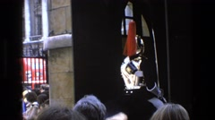 1969: guards mounted on trotting horses ENGLAND Stock Footage