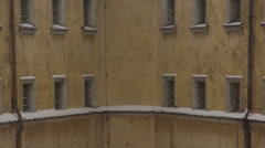 Fragment of old prison building in winter Stock Footage