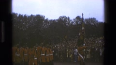 1969: british guards marching in line ENGLAND Stock Footage