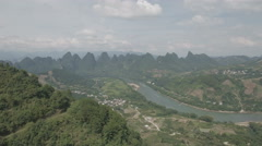 Aerial pan video reveals limestone mountain scenery in China Stock Footage