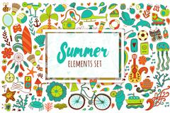 Summer set doodle elements. Travel drawing Stock Illustration