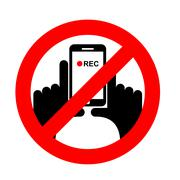 Stop vertical video. It is forbidden to record video. Prohibition sign. Cross Stock Illustration